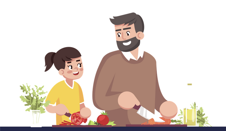 Father And Daughter Cooking Together Illustration