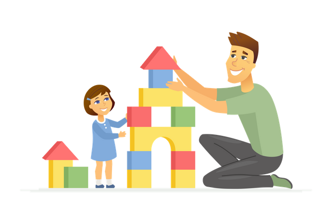 Father and daughter playing Illustration
