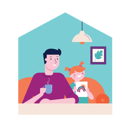 Father and daughter sitting on couch Illustration