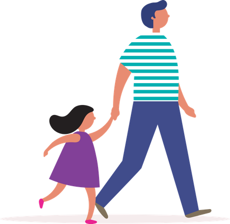 Father and daughter walking together Illustration