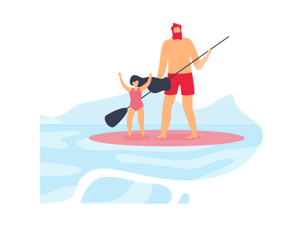 Father and Happy Daughter Standing and Riding Surfboard Illustration