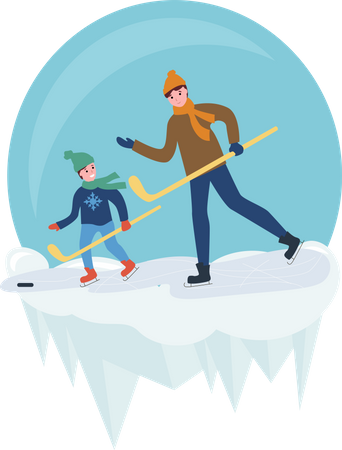 Father and his son playing ice hockey Illustration