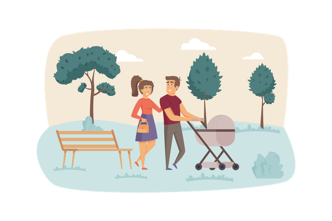 Father and mother with baby in stroller walk in park Illustration