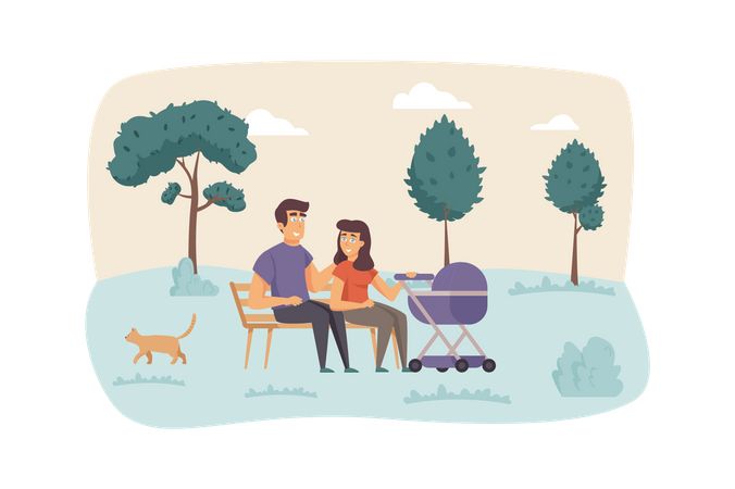 Father and mother with kid in stroller Illustration