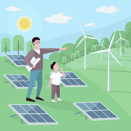 Father and son at alternative energy station Illustration