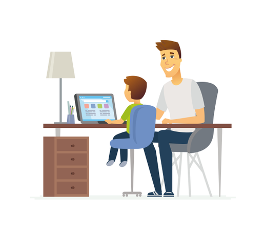 Father And Son At The Laptop Illustration