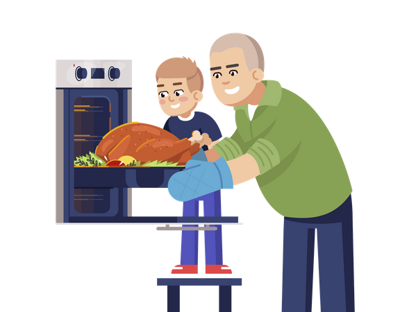 Father And Son Baking Meat In Oven Illustration