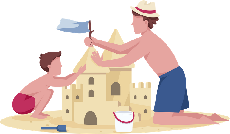 Father and son building sandcastle Illustration