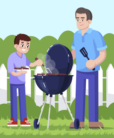 Father and son cooking barbecue together Illustration