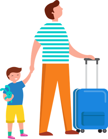 Father and son going on trip Illustration