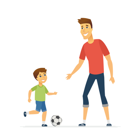 Father And Son Playing Football Illustration