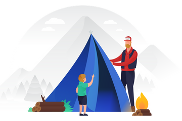 UI Banners - Camping Scene Illustration Pack