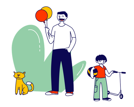 Father and son spending time together Illustration