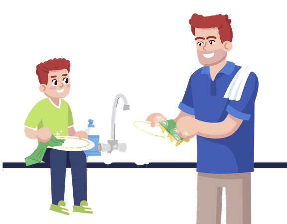 Father And Son Washing Up Dishes Together Illustration