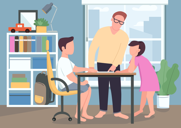 Father help kids with homework Illustration