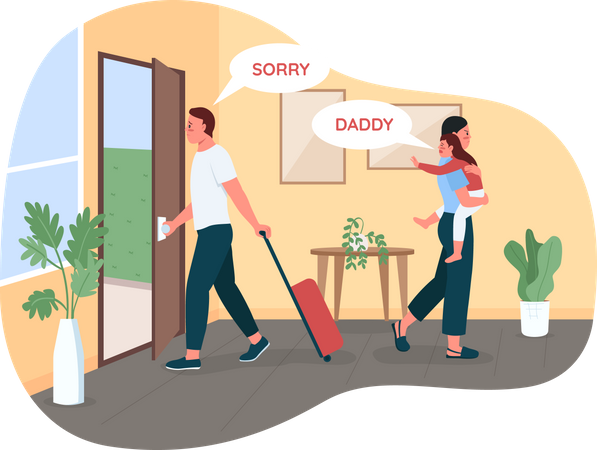Father leaving wife and child Illustration