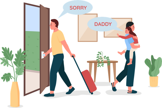 Father leaving wife and kid Illustration