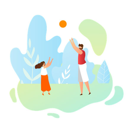 Father playing with her daughter Illustration
