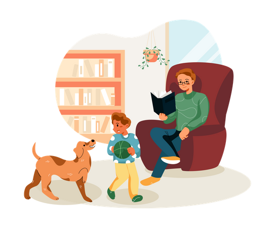 Father reading book while kid playing with dog Illustration