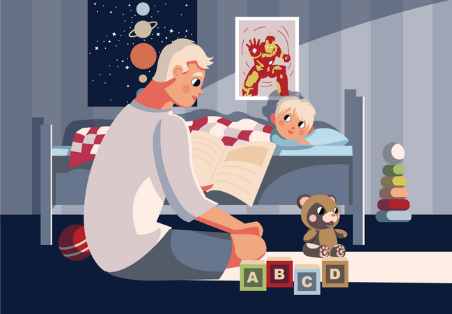 Father reading fairytale book for son Illustration