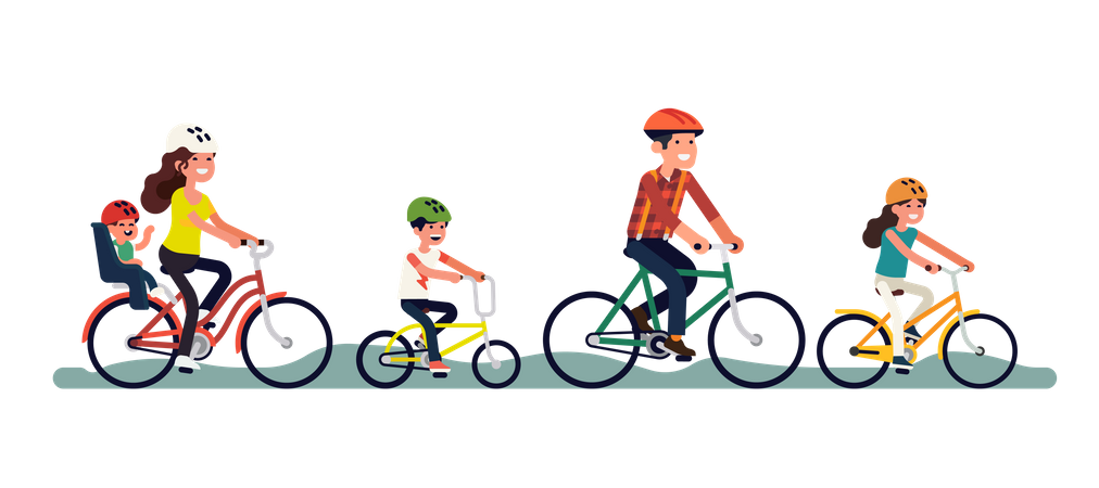 Father, siblings, mother with toddler riding bicycles Illustration