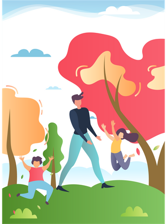 Father, son and daughter playing in the garden Illustration