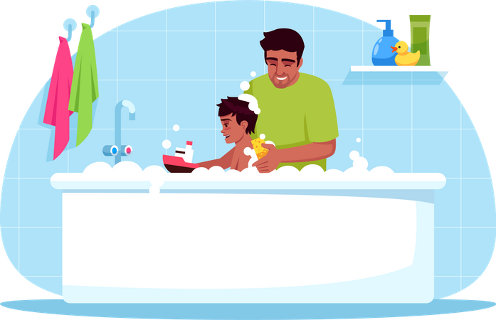 Father washes son Illustration