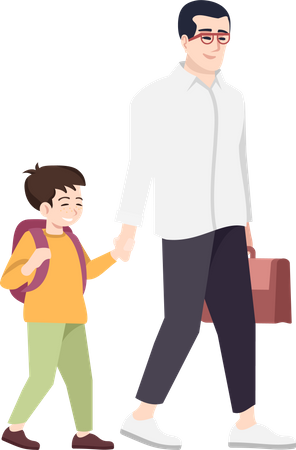 Father with preteen school kid Illustration