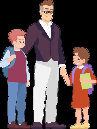 Father with schoolchildren Illustration