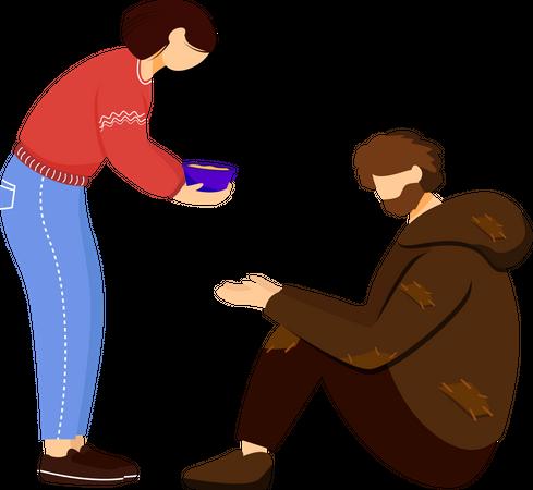 Feeding poor Illustration