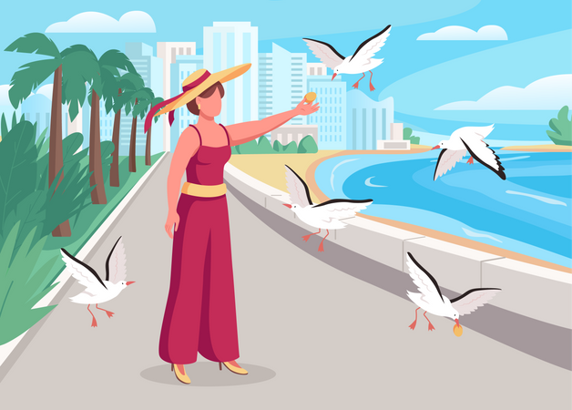 Feeding seagulls on coast Illustration