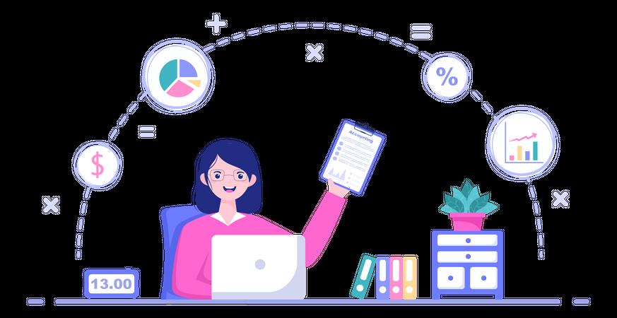 Female Accountant Calculating Company Finance Illustration