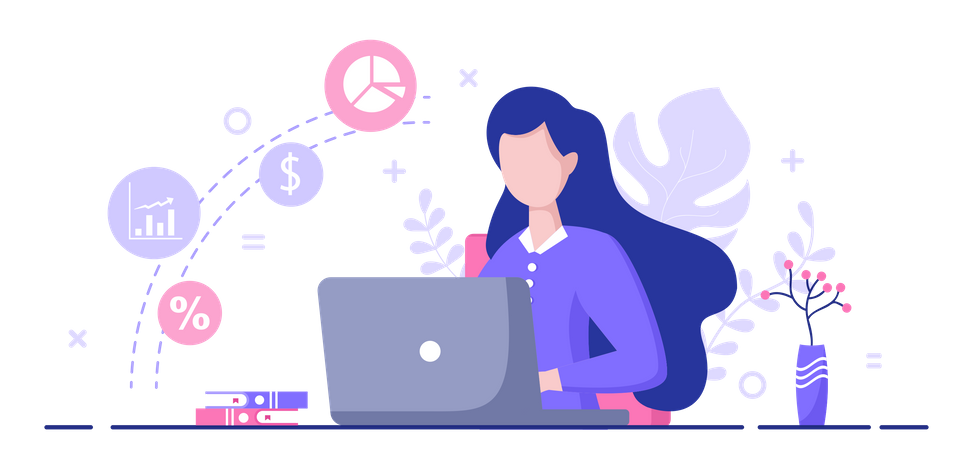 Female accountant working on laptop Illustration