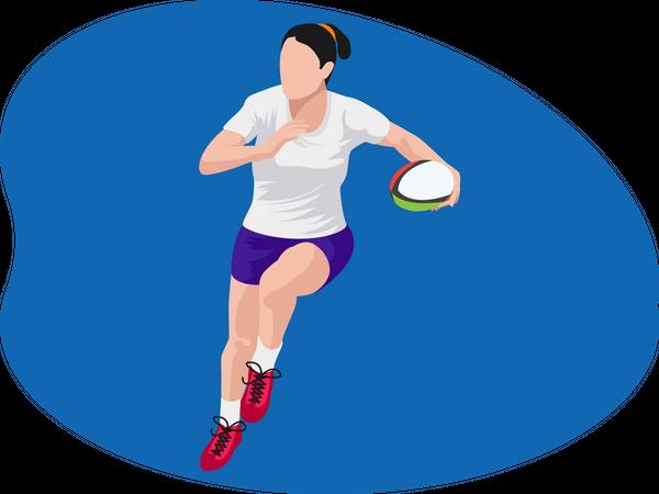 Female American footballer Illustration