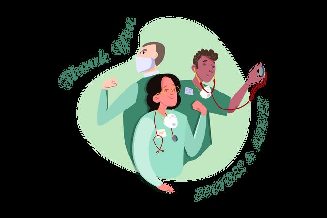 Female and male nurses Illustration