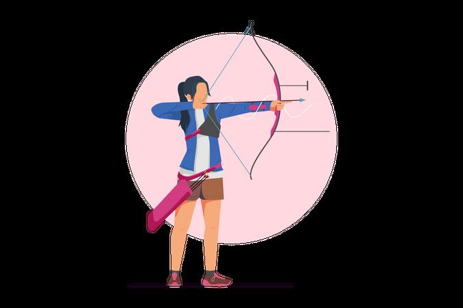 Female archer aiming target Illustration
