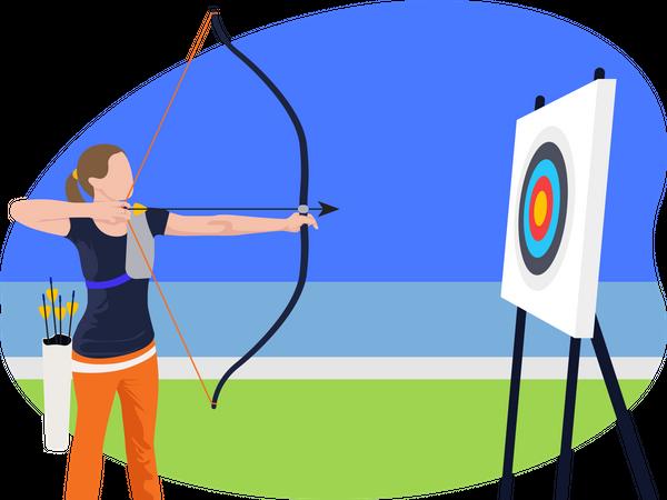 Female archery player Illustration