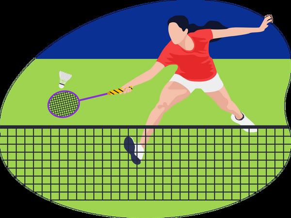 Female badminton player Illustration