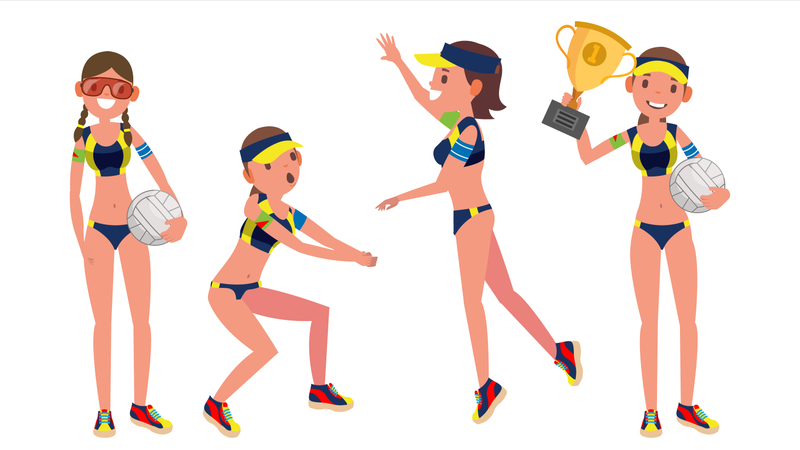 Female Beach Volleyball Player Illustration