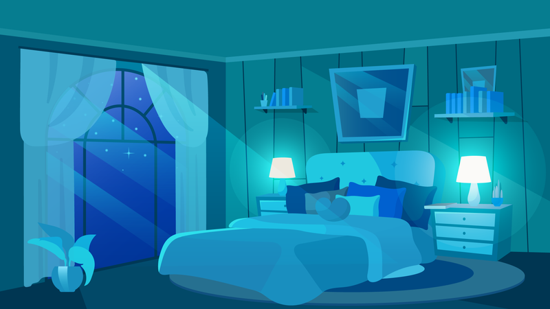 Female bedroom at night Illustration