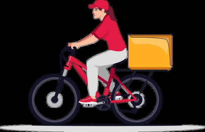 Female bike courier Illustration
