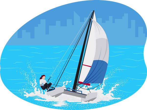 Female boat racing player Illustration