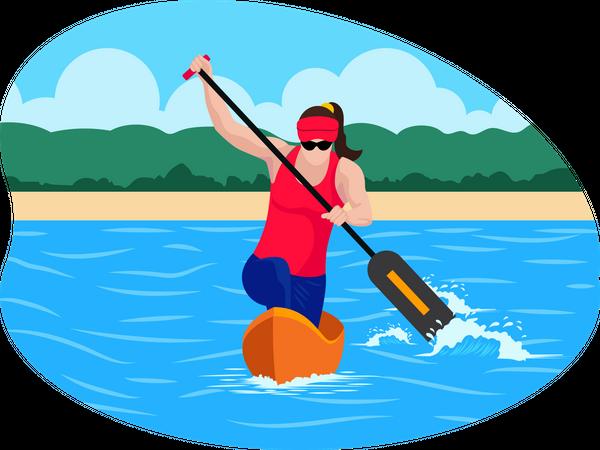 Female Boating player Illustration