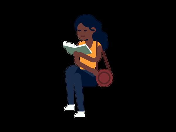Female book reader reading book Illustration