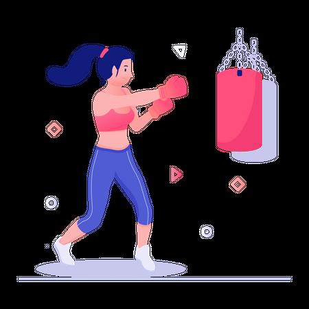 Female boxer practicing using punching bag Illustration