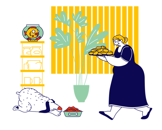 Female caretaker Carrying Tray with Pile of Fresh Pies Illustration