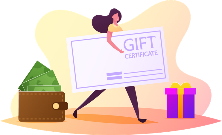 Female Carry Gift Certificate near Gift Box and Wallet with Money Illustration