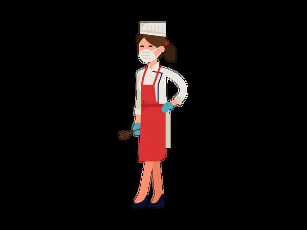 Female chef wearing mask Illustration