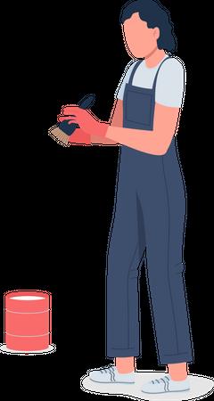 Female cleaner Illustration