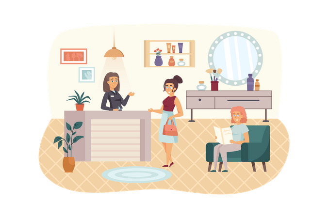Female client makes appointment with beautician or hairdresser at reception Illustration